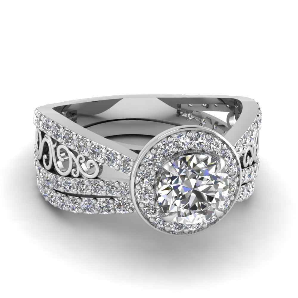 Tapered Split Halo Diamond Wedding Ring Set In 14K White Gold