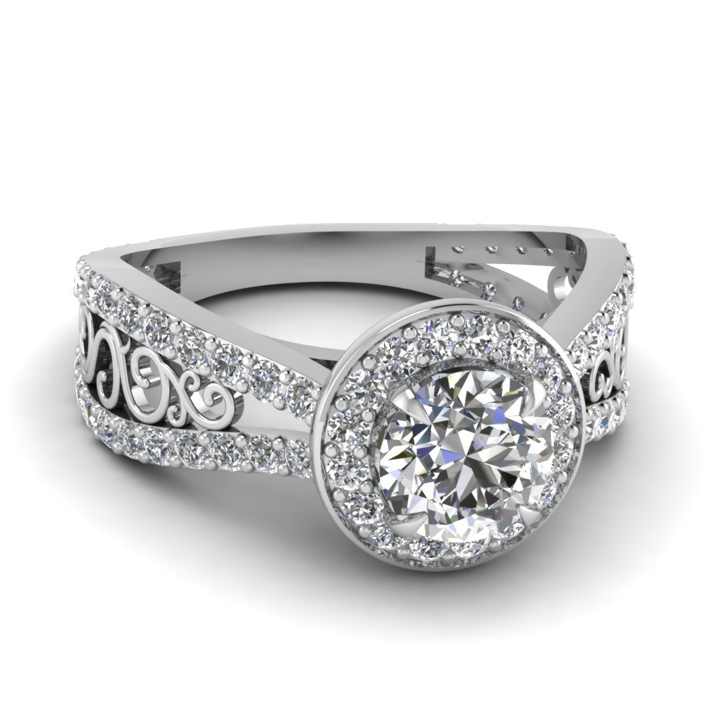 Tapered Split Halo Engagement Ring