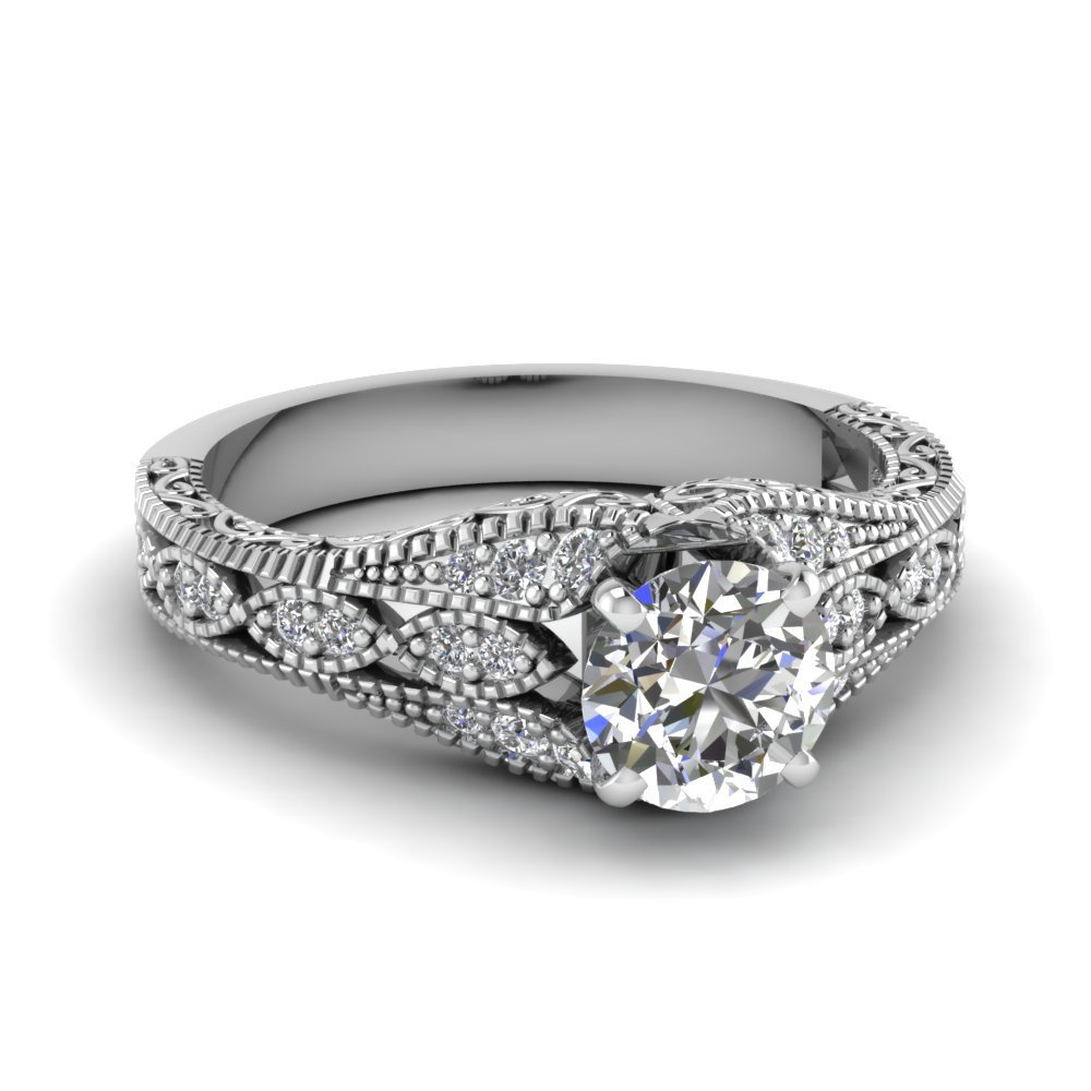 Anitque Filigree Round Diamond Ring