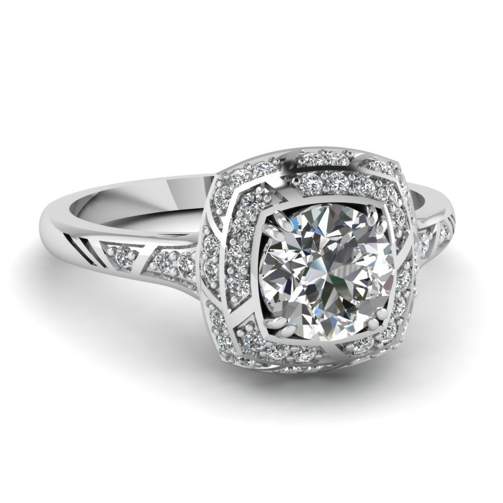 Square Double Halo Engagement Ring