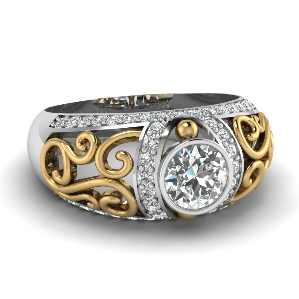 Filigree Art Deco Gold Engagement Ring Style