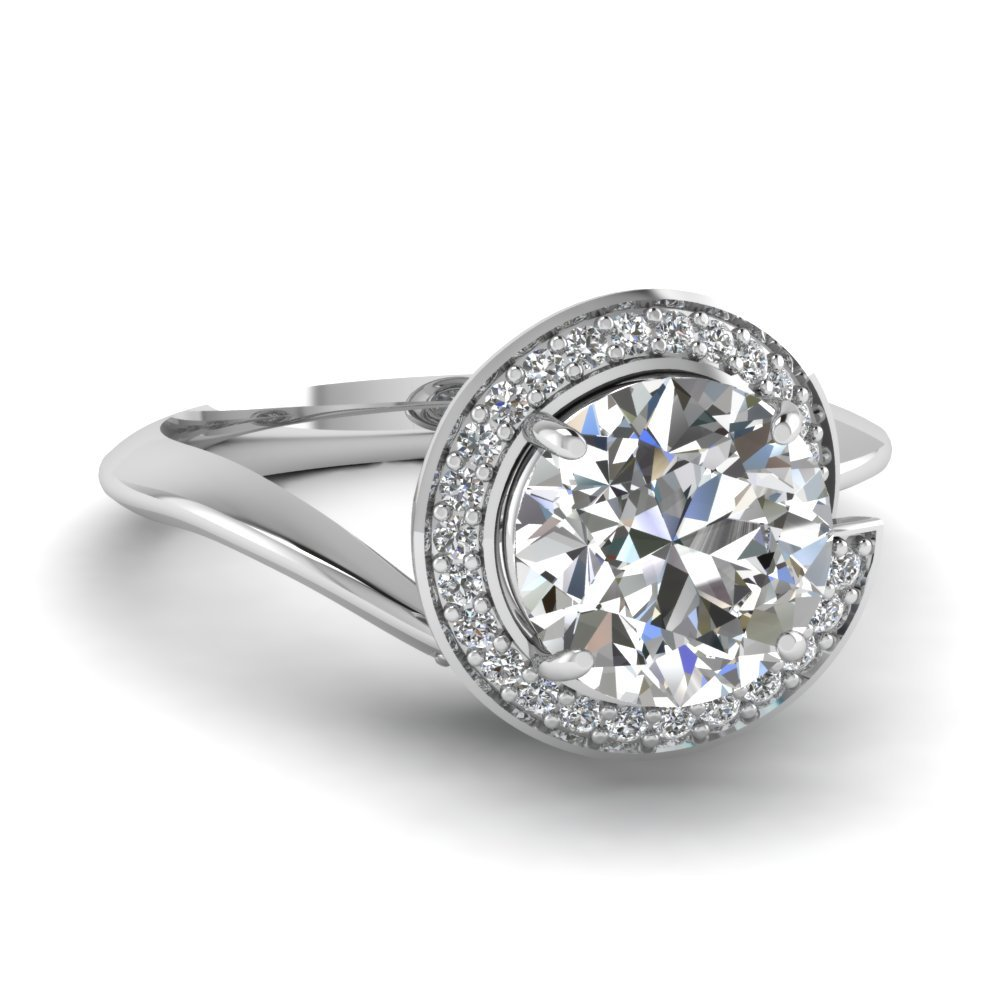Halo Pave Round Diamond Ring