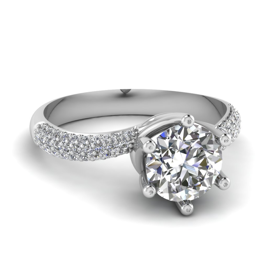 Micropave diamond swirl 6 prong ring