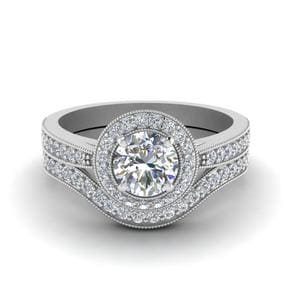 Milgrain Pave Halo Diamond Wedding Ring Set In 14K White Gold