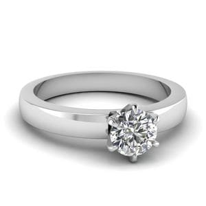 6 Prong Solitaire Round Diamond Engagement Ring In 18K White Gold