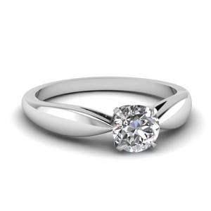 Tapered Bow Solitaire Engagement Ring In 14K White Gold