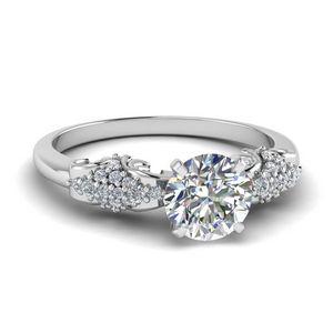 Round Antique Diamond Ring In 14K White Gold