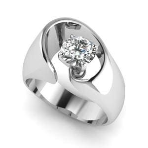 14K White Gold Swirl Solitaire Ring