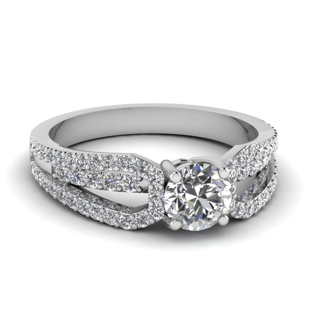 White Gold Round White Diamond Engagement Wedding Ring In Prong Set