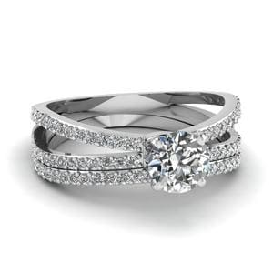 Reverse Split Shank Round Diamond Wedding Ring Set In 14K White Gold