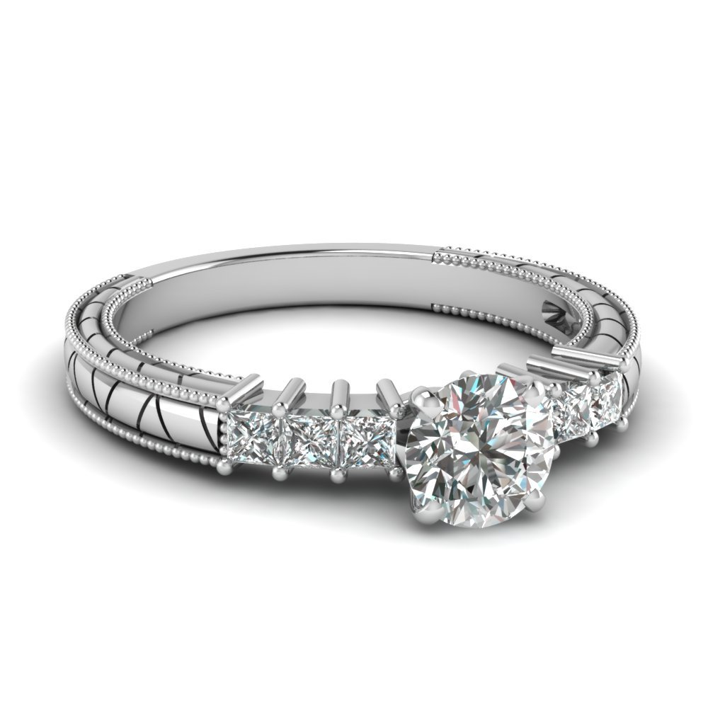 Round Cut Petite Vintage Diamond Engagement Ring In 14K White Gold