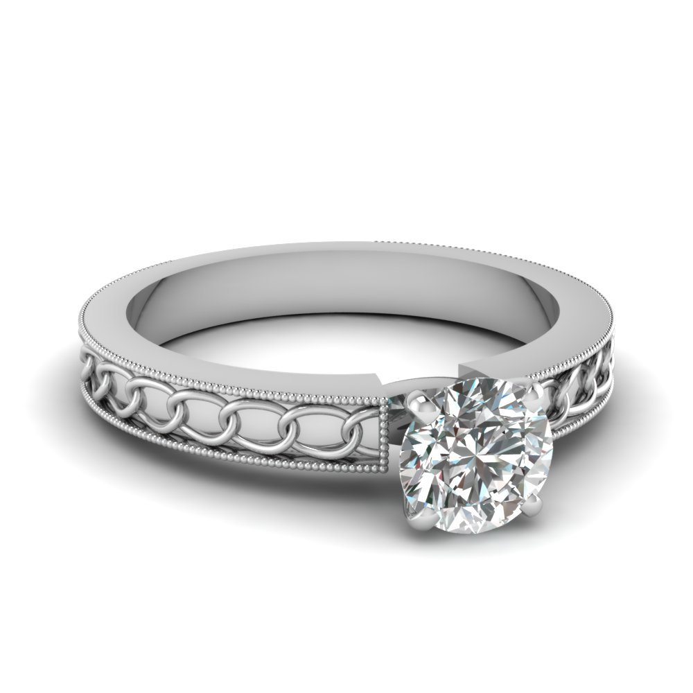 Interlocked Design Round Solitaire Engagement Ring In 14K White Gold