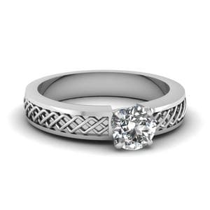 Criss Cross Round Cut Solitaire Engagement Ring In 950 Platinum