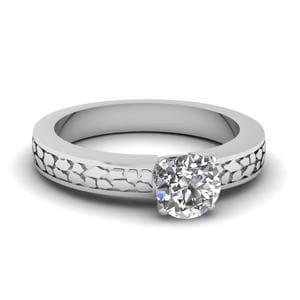 Round Cut Carved Solitaire Engagement Ring In 14K White Gold