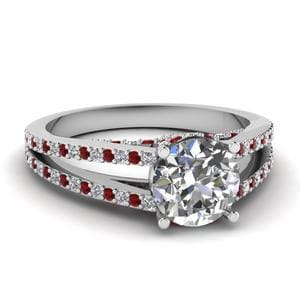 Ruby Split Shank Diamond Ring