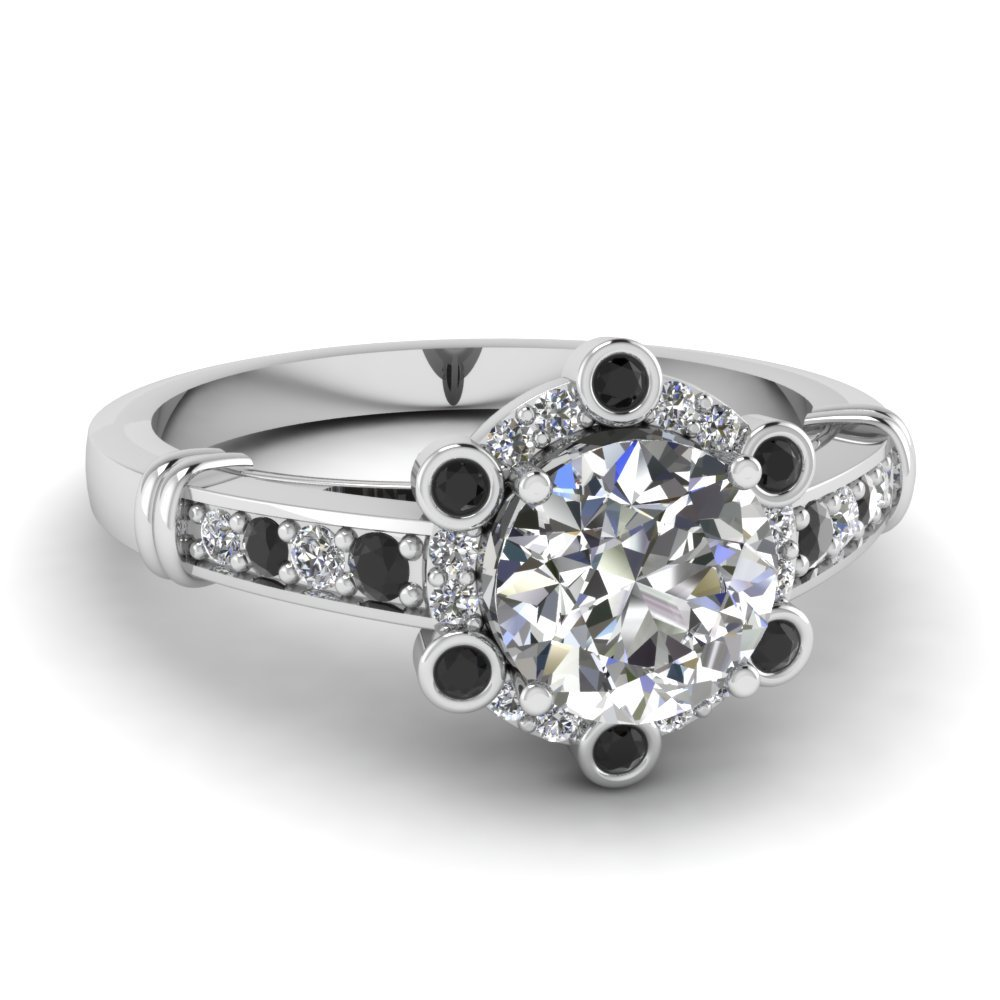 Pave Floral Halo Diamond Ring