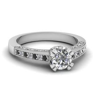 White Gold Round White Diamond Engagement Wedding Ring With Black Diamond In Pave Set