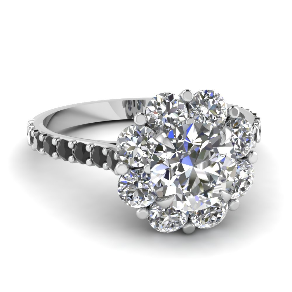 flower wedding ring 2 flower halo engagement ring with sapphire in 14k 4240