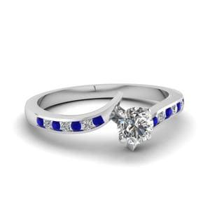 Twist Channel Round Diamond Engagement Ring With Sapphire In 14K White Gold