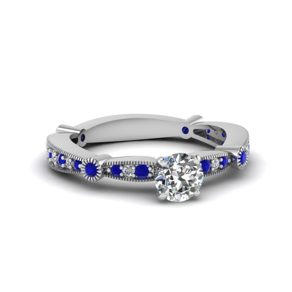 Round Diamond Vintage Tapered Engagement Ring With Sapphire In 14K White Gold