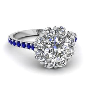 Flower Round Cut Diamond Ring