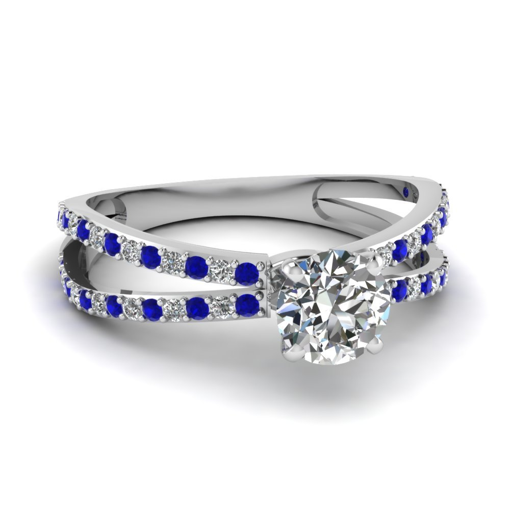 Reverse Split Shank Round Diamond Engagement Ring With Sapphire In 14K White Gold