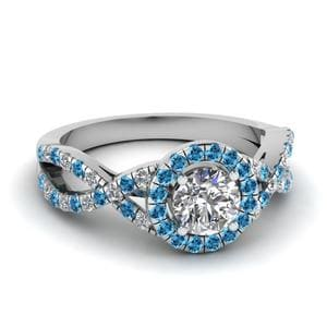 Entwined Topaz Halo Diamond Ring