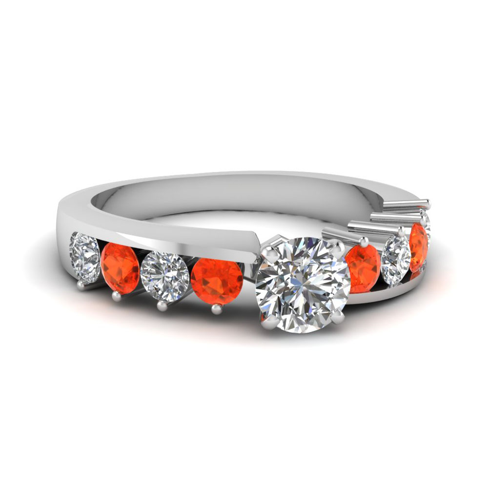 Floating Prong Round Diamond Engagement Ring With Orange Topaz In 18K White Gold