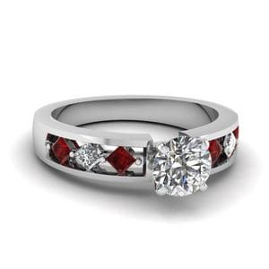 Kite Setting Round Cut Diamond Engagement Ring With Ruby In 18K White Gold