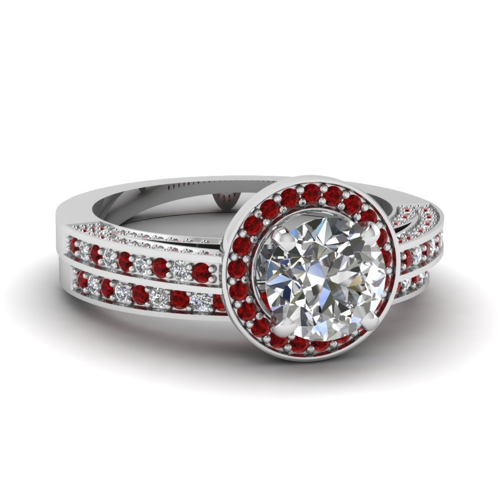 Pave Ruby Wedding Set