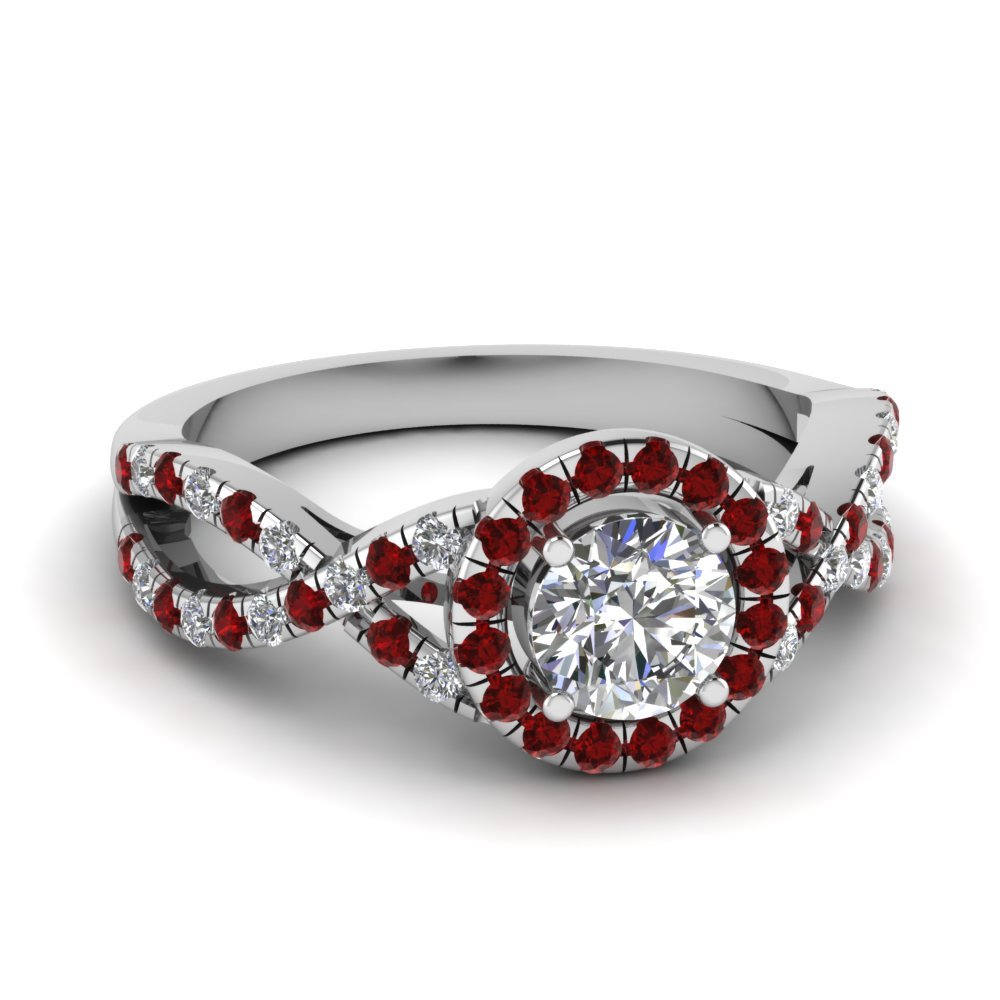 Micropave Ruby Halo Diamond Engagement Ring In 14k Rose