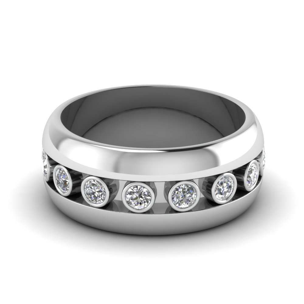 Bezel Diamond Mens Wedding Ring