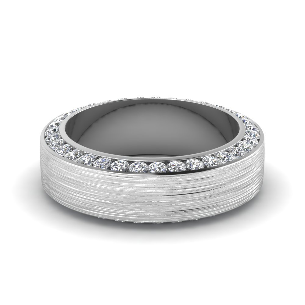 Brushed Channel Diamond Men's Promise Band