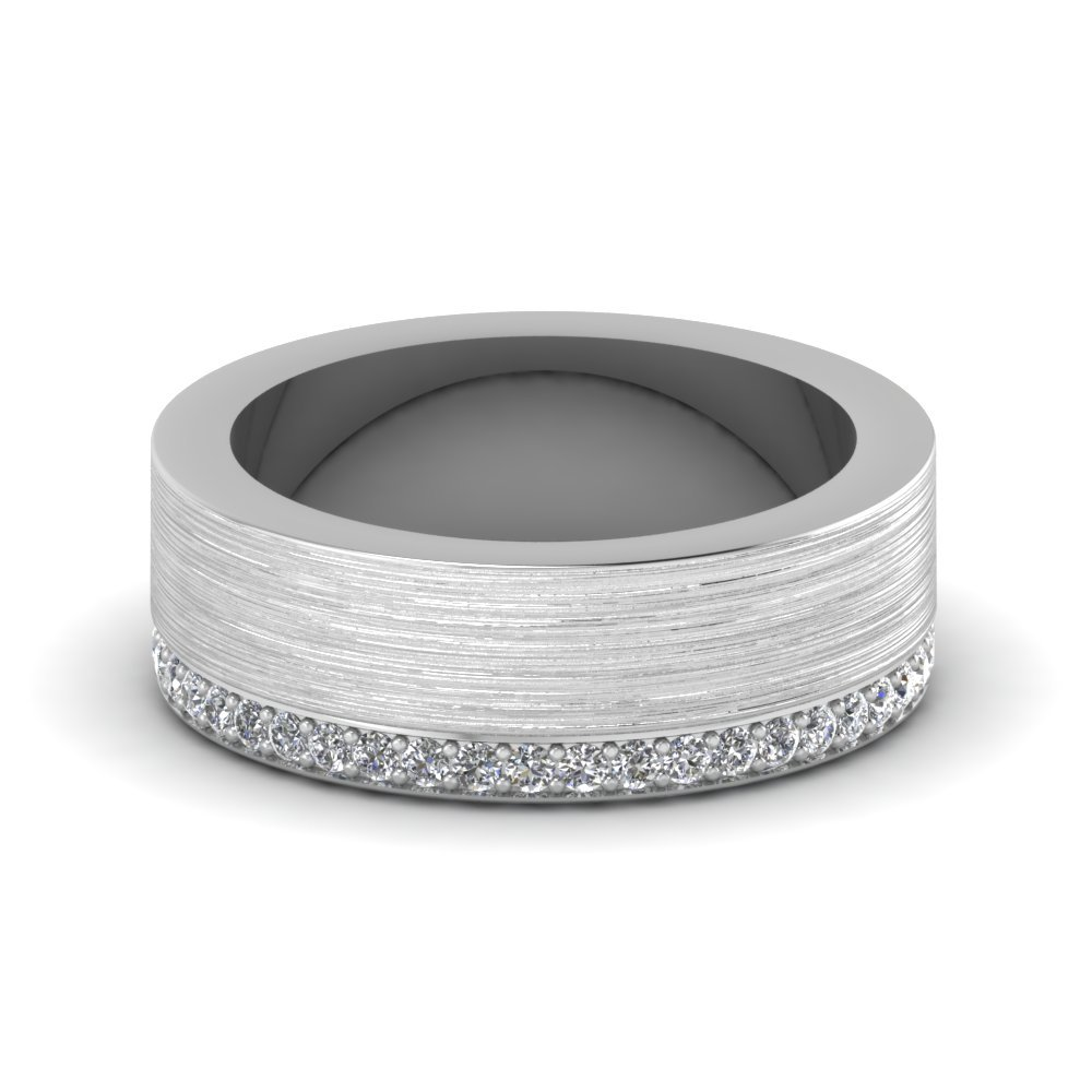 Brushed Diamond Wedding Ring