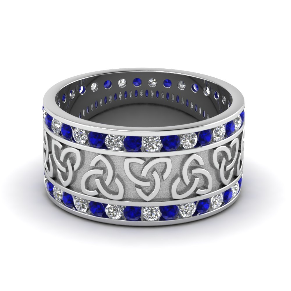 Channel Diamond Celtic Wedding Band