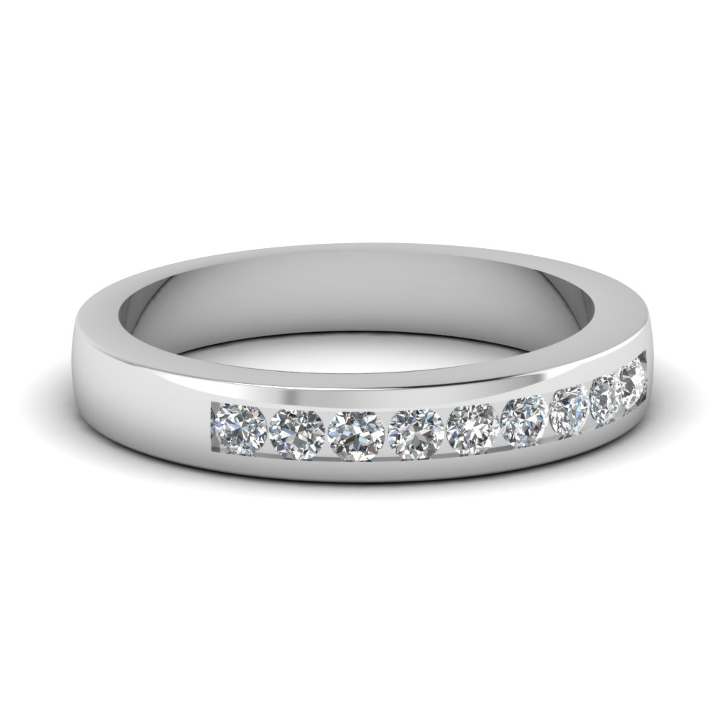 Platinum Round Diamond Band