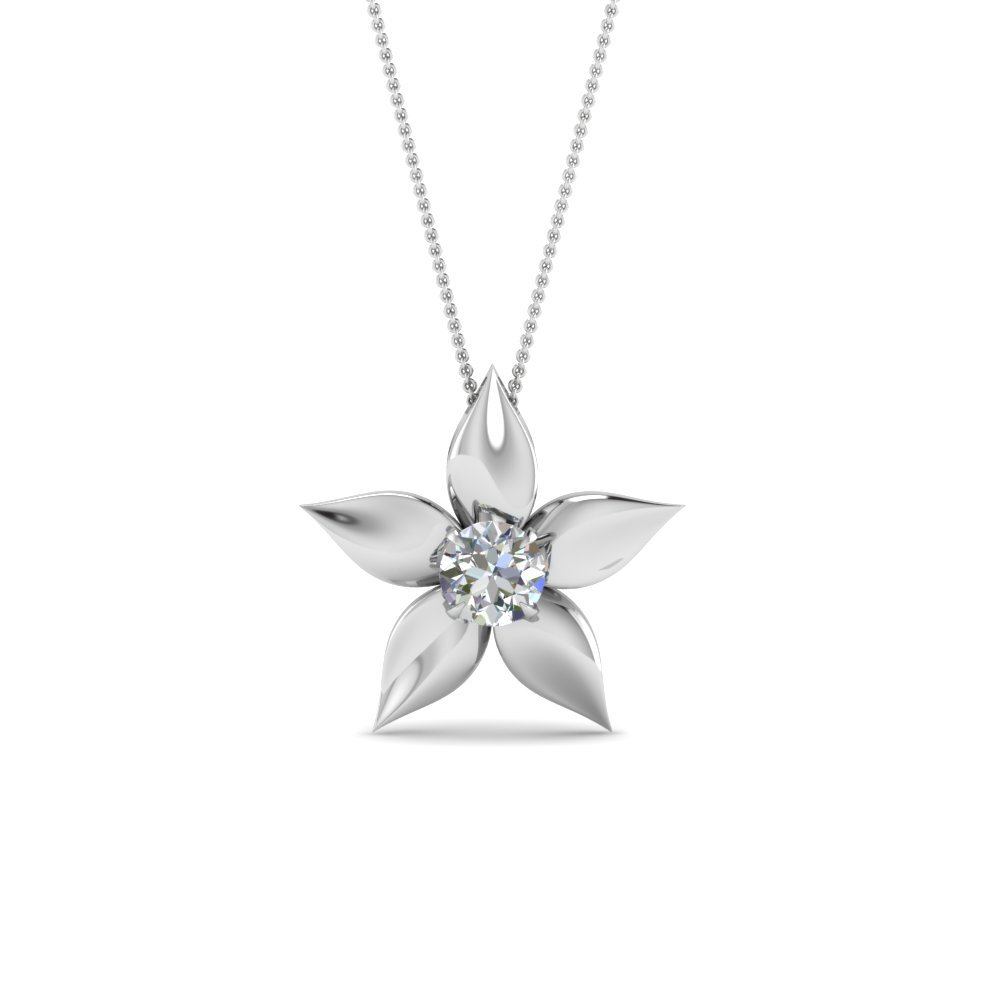 Daisy Diamond Solitaire Pendant In 14K White Gold