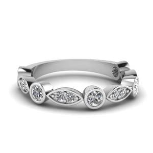 Art Deco Vintage Diamond Wedding Band In 18K White Gold