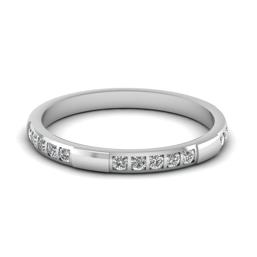 Bar Diamond Stackable Wedding Band In 14K White Gold