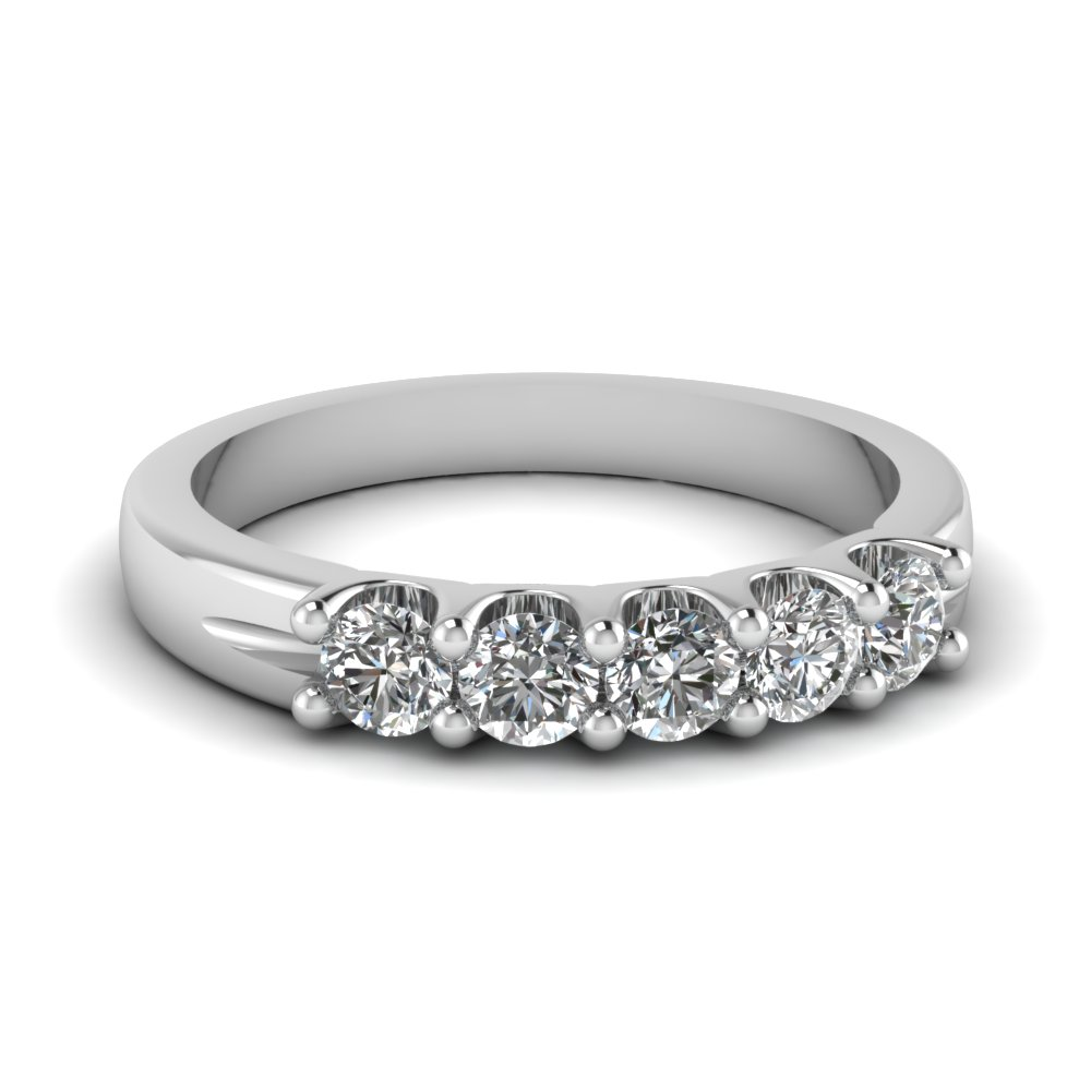 U Prong 5 Stone Diamond Band