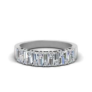 Vintage Baguette Diamond Wedding Band In 14K White Gold