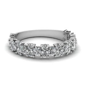 Vintage Round Women Diamond Wedding Ring In 18K White Gold