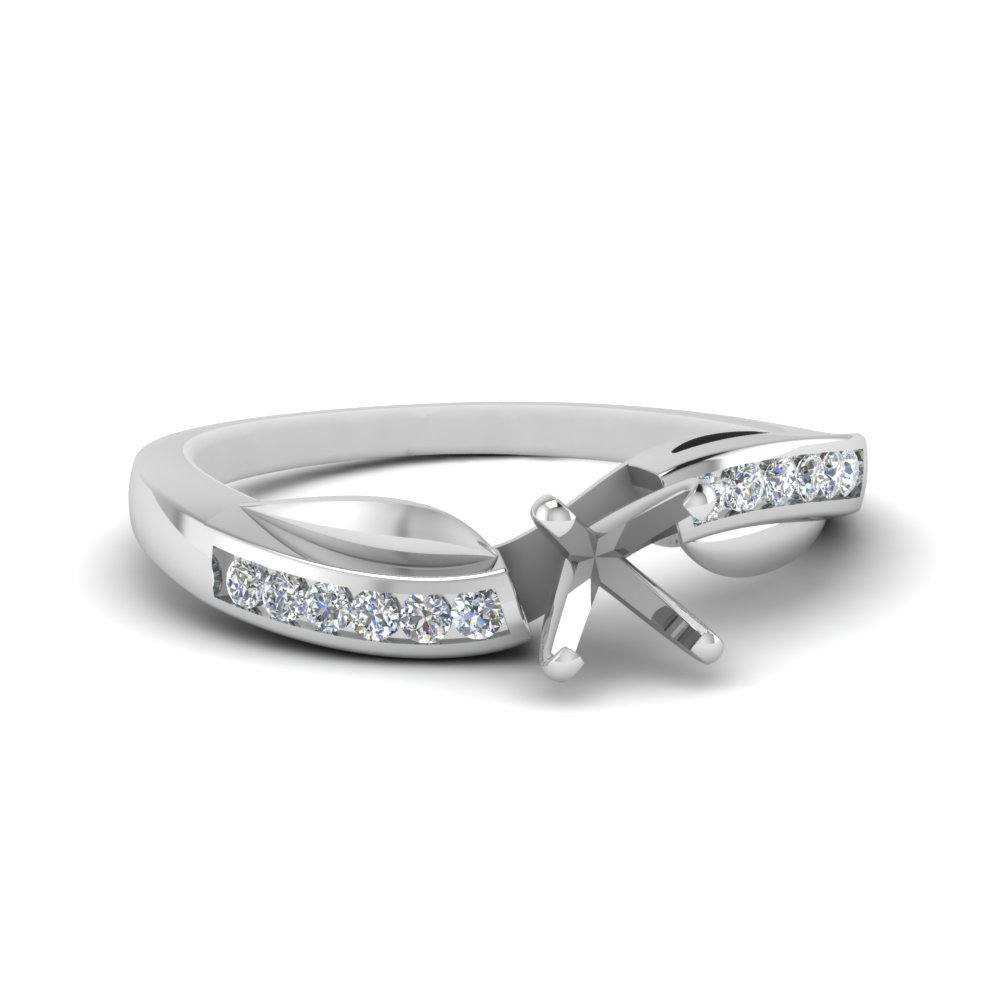 Petal Channel Set Cushion Diamond Engagement Ring In 14K White Gold