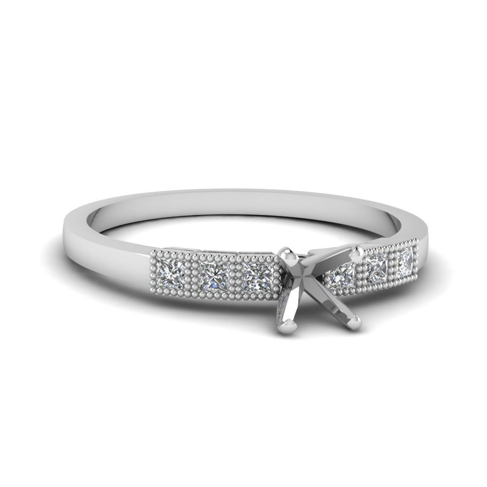Milgrain Petite Semi Mount Engagement Ring In 14K White Gold