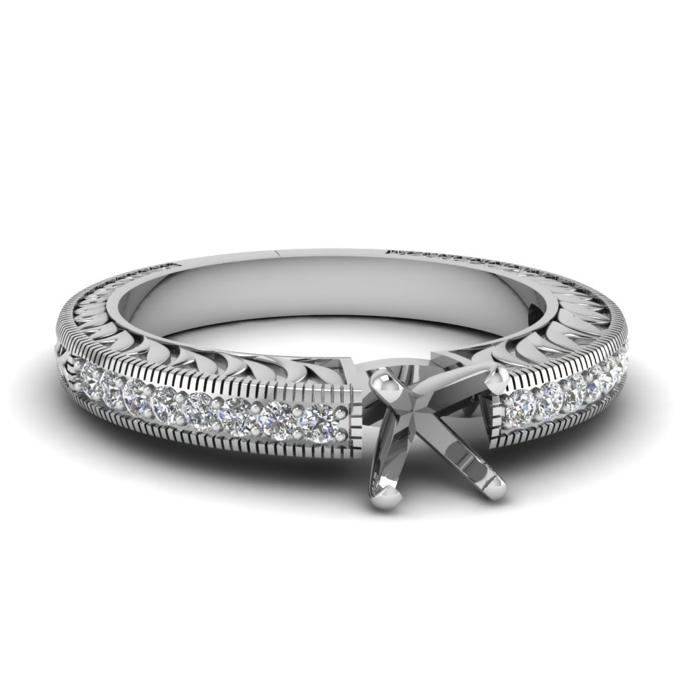 Hand Engraved Semi Mount Vintage Engagement Ring In 14K White Gold