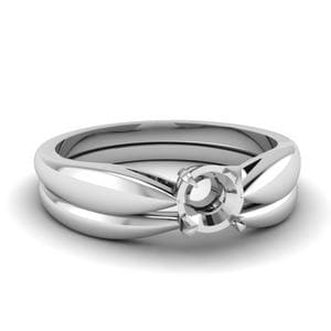 Tapered Bow Solitaire Wedding Ring Set In 950 Platinum