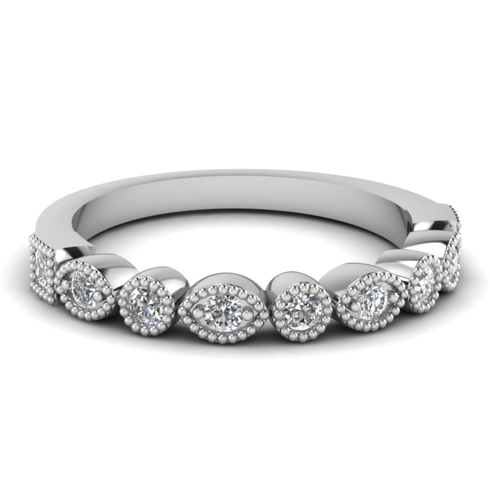 Art Deco Diamond Delicate Wedding Band In 18K White Gold