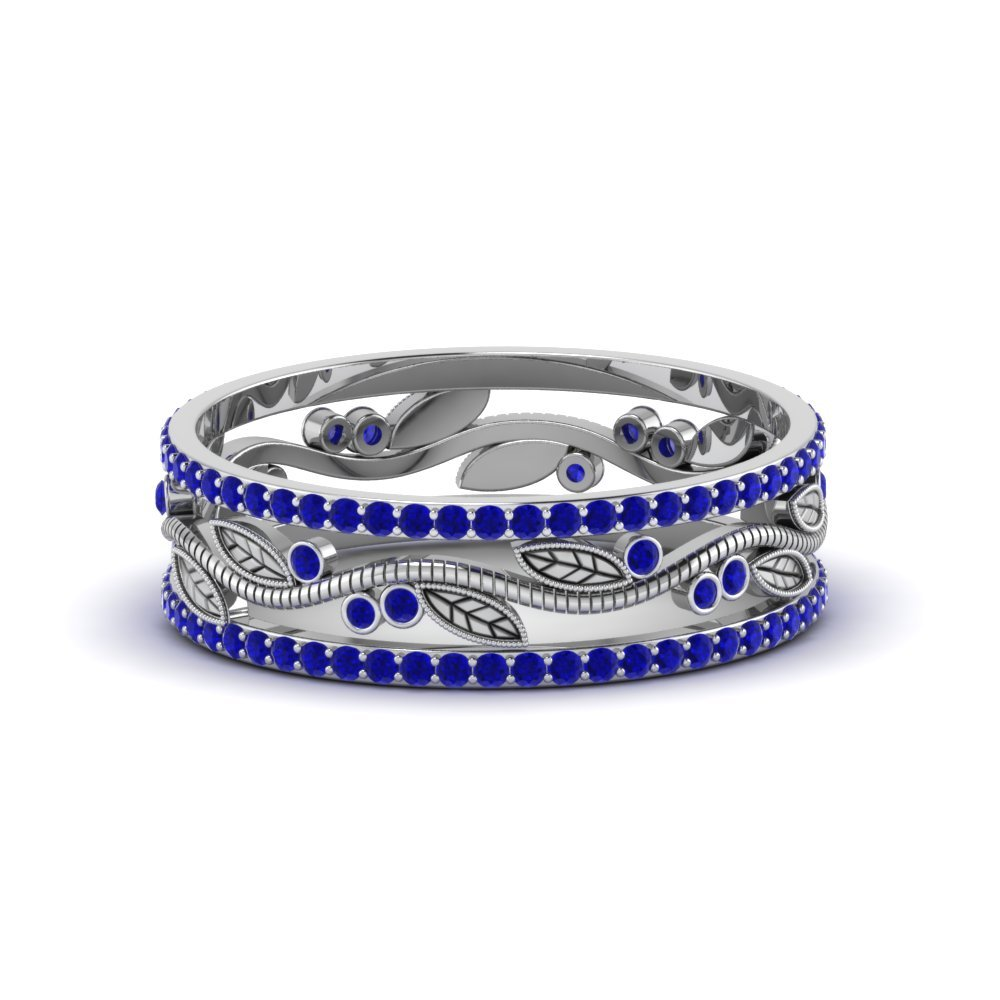 Wide Branch Design Band with sapphire