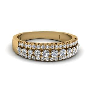 Triple Row Round Diamond Band In 14K Yellow Gold