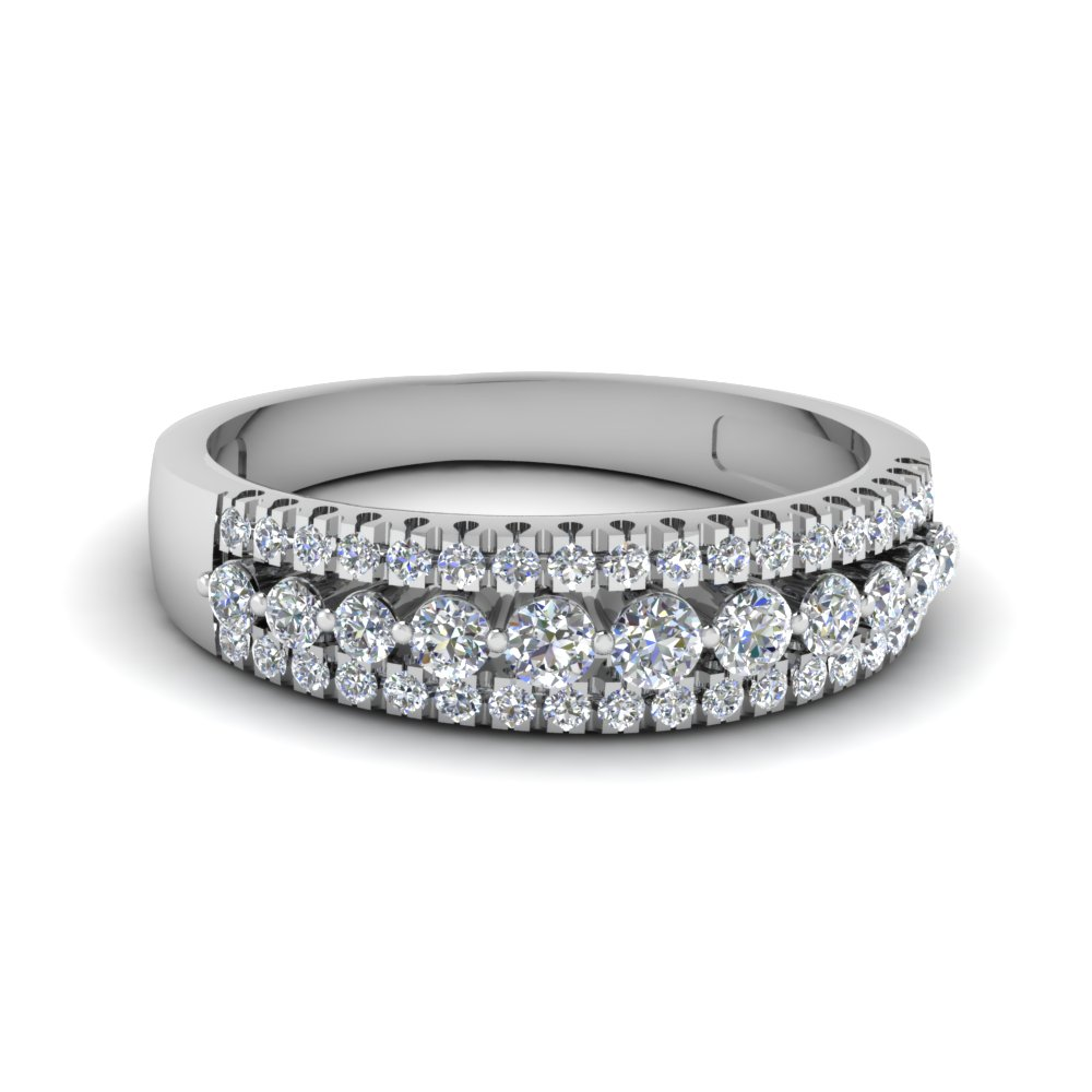 Triple Row Round Diamond Band In 18K White Gold